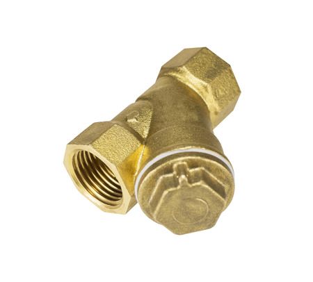 Threaded Copper pipe fitting on the white background Stock Photo