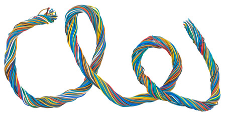 Multicolor telecommunication network cables isolated on white background Stock Photo