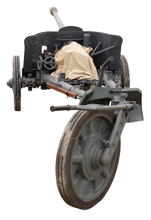 old German cannon of the period of WW2 on white background