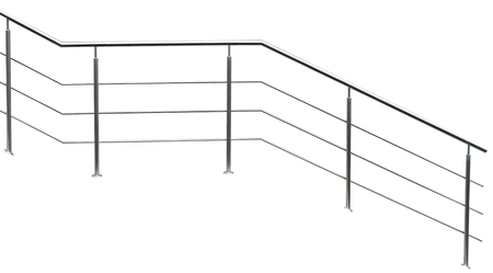 Chromium metal fence with handrail on white background Standard-Bild