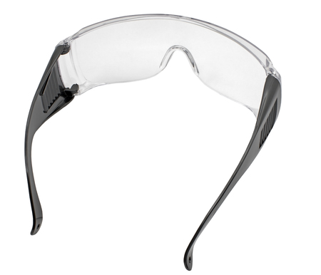 Black plastic protective work glasses isolated on a white background