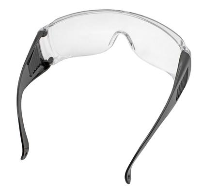 Schwarze Arbeitsschutzbrille aus Kunststoff isoliert auf weißem Hintergrund