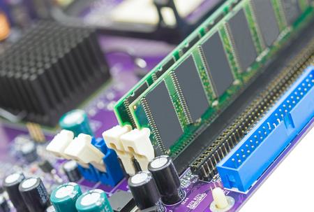 RAM Memory Module Installed On Computer Motherboard Stok Fotoğraf