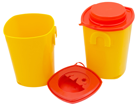 medical plastic containers over white background 写真素材