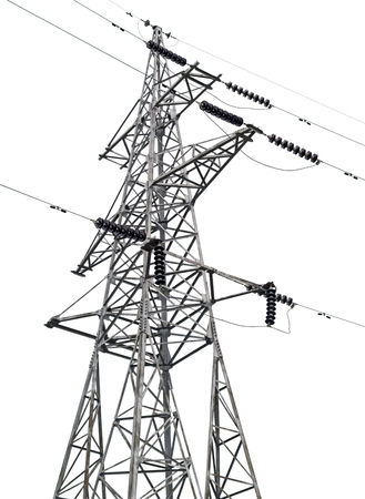 electric tower high voltage post on white background 免版税图像