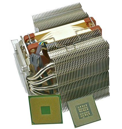 cooling fan with heatsink and CPU on white background Stok Fotoğraf