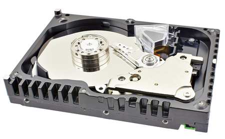 Opened computer hard drive isolated on white background Archivio Fotografico