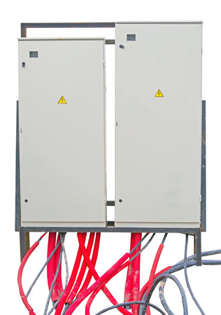 Outdoor cabinets for electrical equipment, electrical cables and red plastic pipes
