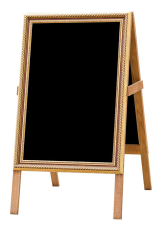 sandwich board with chalkboard area blank for insertion of your message Banque d'images