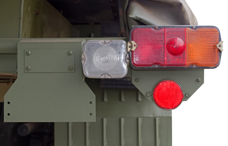 the Tail lights of military truck