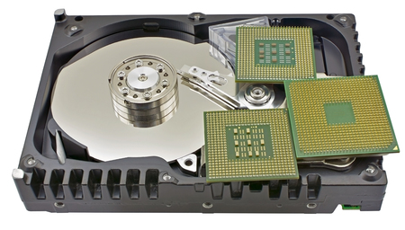 hard disk and CPU isolated on white background