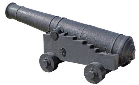 Old ship cannon on white background