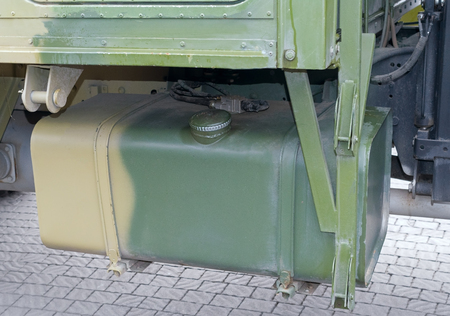 big Fuel tank of a military truck vehicle