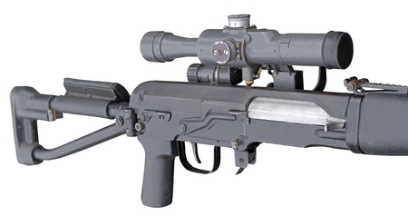 Modern russian sniper rifle with telescopic sight and silencer on white background 版權商用圖片