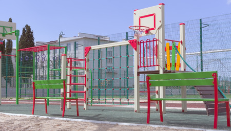 The new modern sports ground  with various training apparatus