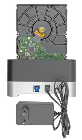 Hdd hard drives in docking station on white background