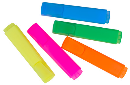 Colored markers on a white background