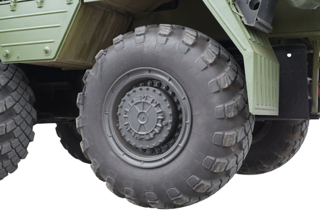 Military vehicle truck wheels on hub with black shine tires
