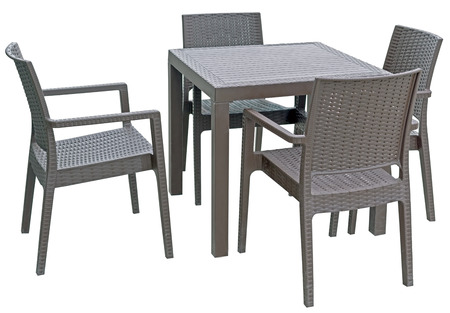 plastic chairs and table on white background Banco de Imagens