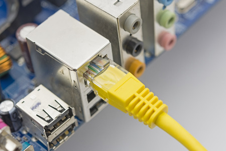 Network cable is connected to the computer on white background