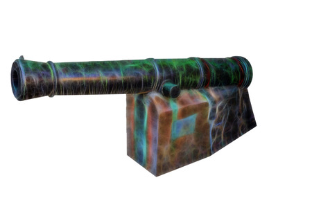 fractal picture of English age-old ship cannon