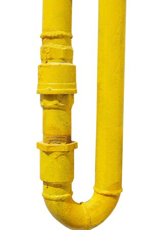 yellow gas pipe on white background Stock Photo