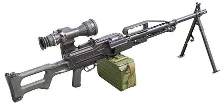 Machine gun with optic scope on white background Stock Photo