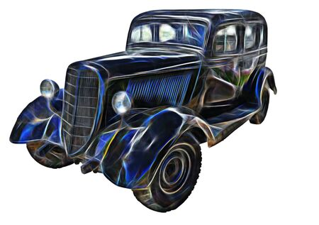 fractal picture of Retro (second world war period) car isolated on white