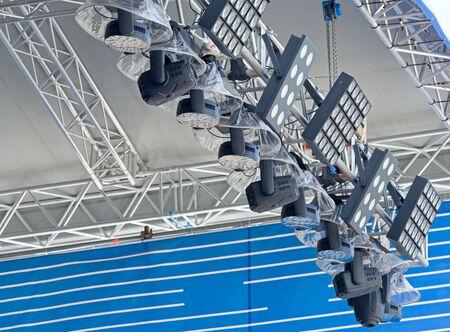 Light heads equipment preparing for a light show