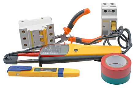 Electricity equipment: automatic circuit breakers, insulation tape, testers Isolated on white background
