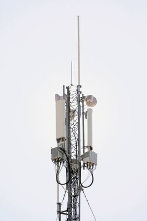 Tower with aerials of cellular on white background Stok Fotoğraf