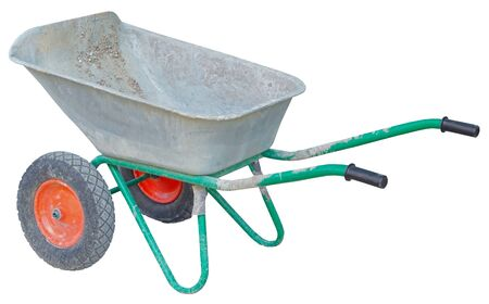 Garden metal wheelbarrow cart isolated on white background Banco de Imagens