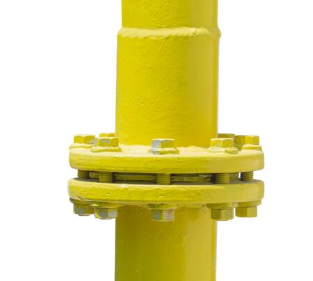 new yellow gas pipe on white background
