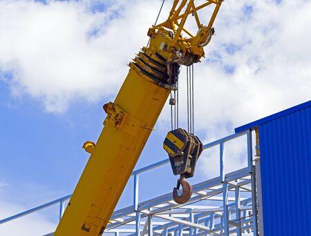 part of modern yellow excavator machines