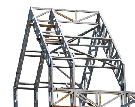 Structure of steel for building construction on white background