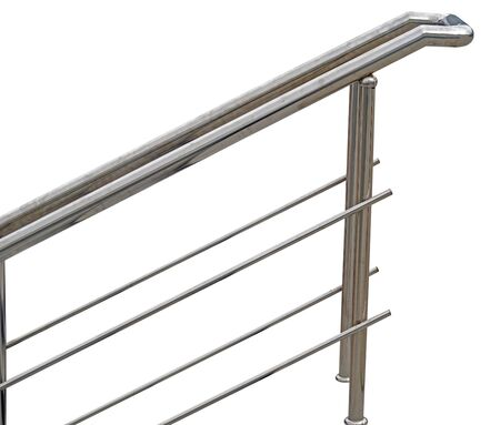 Chromium metal fence with handrail on white background 版權商用圖片