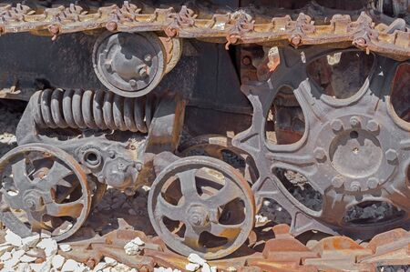 Old caterpillar track of a tractor vehicle
