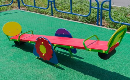 seesaw in a playground for children's toys