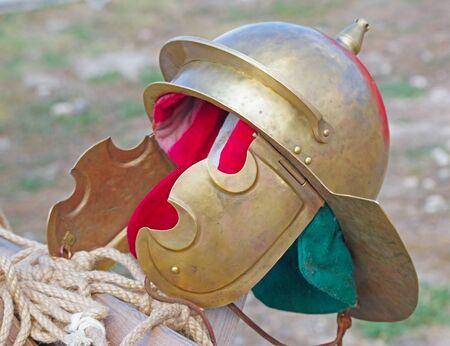 an ancient Roman legionary war helmet Archivio Fotografico - 132385307