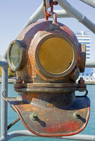 Old diving helmet at the exhibition 免版税图像
