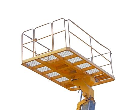 A cabin crane car to for in high area for safety and convenience work on white background