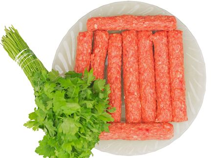 German grilled pork sausages with lettuce, close-up, isolated on white background