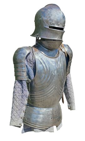 Reconstruction of knightly armor - armor and helmet on white background