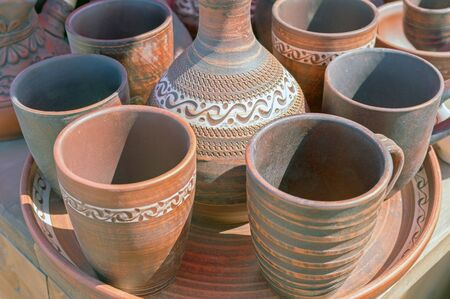handmade Burnt clay pots and plates, dishes Stock fotó