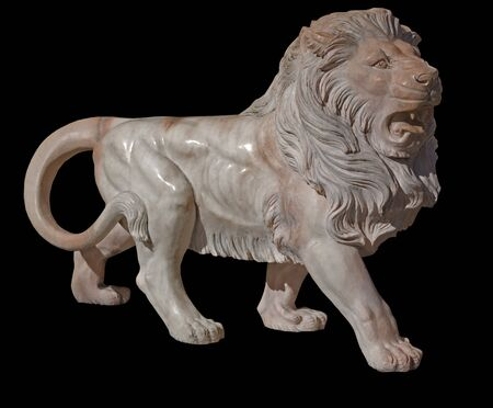 Sculpture of a marble lion on black background