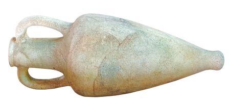 Ancient greek amphora on white background