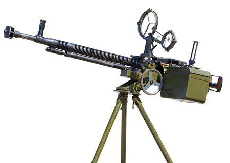Anti-Aircraft large-caliber machine gun caliber 12.7 mm over a white background