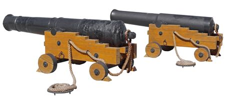 Old ship cannons on white background. Guns concern to the Crimean war of 1854.