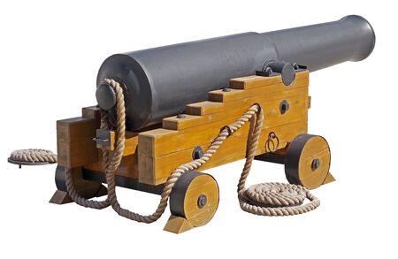 Old ship cannon on white background. Guns concern to the Crimean war of 1854. Фото со стока