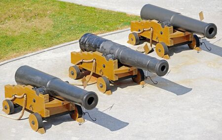 Old ship cannons in the museum. Guns concern to the Crimean war of 1854.